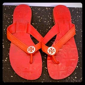 Red pebble leather sandals